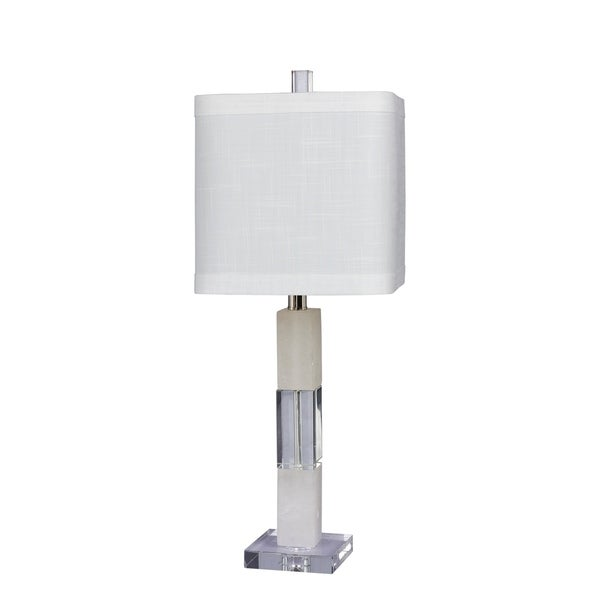 Fangio Lighting's 5152 26 in. Stacked Block Table Lamp in a Clear Crystal & Snow Marble Finish