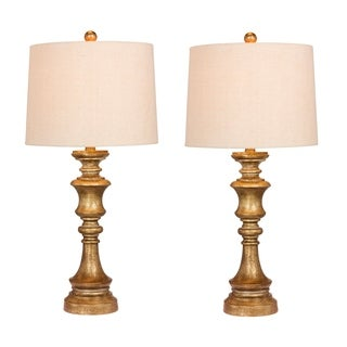 Fangio Lighting's 6236AG-2PK Pair Of 27.75 in. Candlestick Resin Table Lamps in a Antiqued Gold Leaf Finish