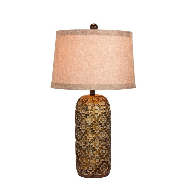 Fangio Lighting's 6230 28.5 in. Tribal Marked Resin Table Lamp in a Antique Gold Finish