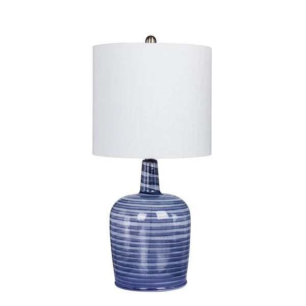 Fangio Lighting's 5148GRY 27 in. Bedrock Striped Jug Glass Table Lamp in a Gray & White Striped Finish