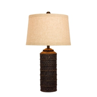 Fangio Lighting's 6229 28.5 in. Tribal Marked Resin Table Lamp in a Brown Finish