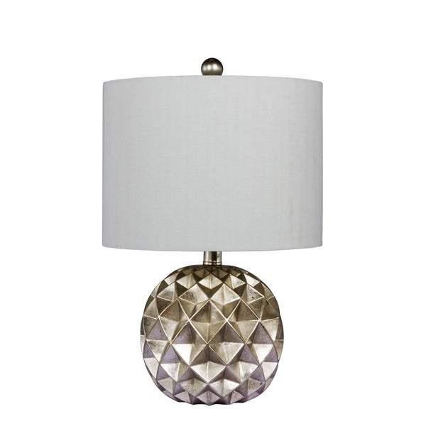 Fangio Lighting's 6232 24 in. Paper Lantern Fold Resin Table Lamp in a Silver Foil Finish