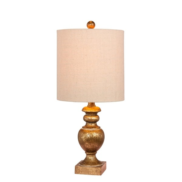 Fangio Lighting's 6235AG 23 in. Textured Urn Resin Table Lamp in a Antiqued Gold Leaf Finish