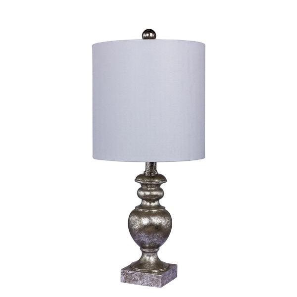 Fangio Lighting's 6235AS 23 in. Textured Urn Resin Table Lamp in a Antiqued Silver Leaf Finish