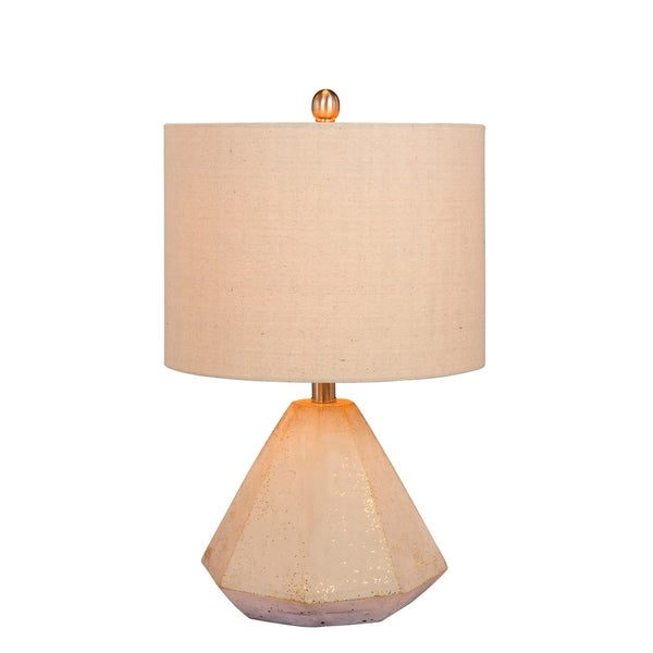 Fangio Lighting's 8985 21.5 in. Faceted Pyramid Concrete Table Lamp in a Gold Finish