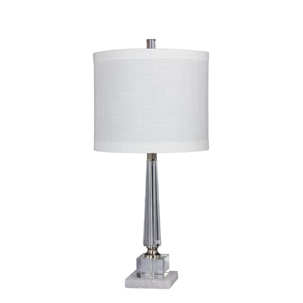 Fangio Lighting's 5146 26 in. Tapered Table Lamp in a Clear Crystal & Snow Marble Finish