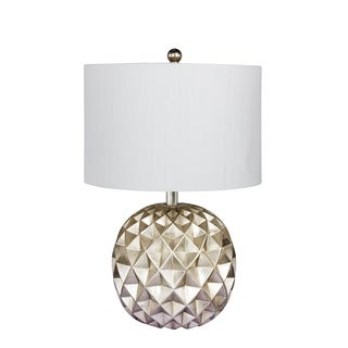Fangio Lighting's 6231 19.5 in. Paper Lantern Fold Resin Table Lamp in a Silver Foil Finish
