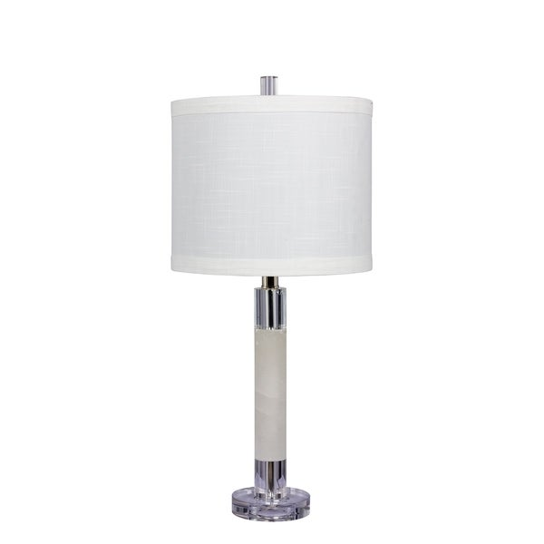 Fangio Lighting's 5151 26 in. Smooth Column Table Lamp in a Clear Crystal & Snow Marble Finish