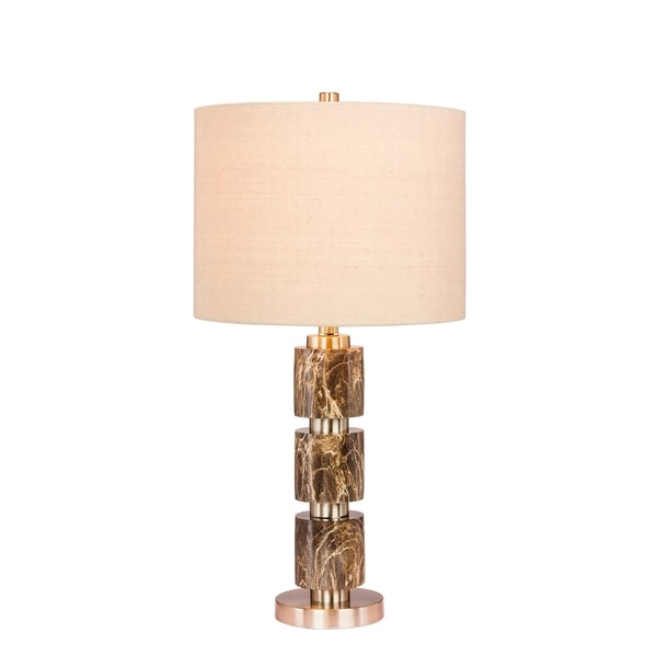Fangio Lighting's 6237GRN 27 in. Stacked, Smooth Resin & Metal Table Lamp in a Brushed Steel With Green Faux Marble Finish