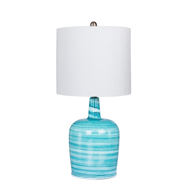 Fangio Lighting's 5148BLU 27 in. Bedrock Striped Jug Glass Table Lamp in a Teal Blue & White Striped Finish