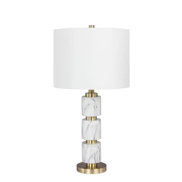 Fangio Lighting's 6237WHT 27 in. Stacked, Smooth Resin & Metal Table Lamp in a White Faux Marble Finish