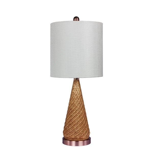 Fangio Lighting's 5149ROS 24.5 in. Royal Spiraled Cone Glass & Metal Table Lamp in a Rose Gold Glitter Finish