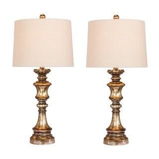 Fangio Lighting's 6236GB-2PK Pair Of 27.75 in. Candlestick Resin Table Lamps in a Gold Leaf with Brown Wash Finish