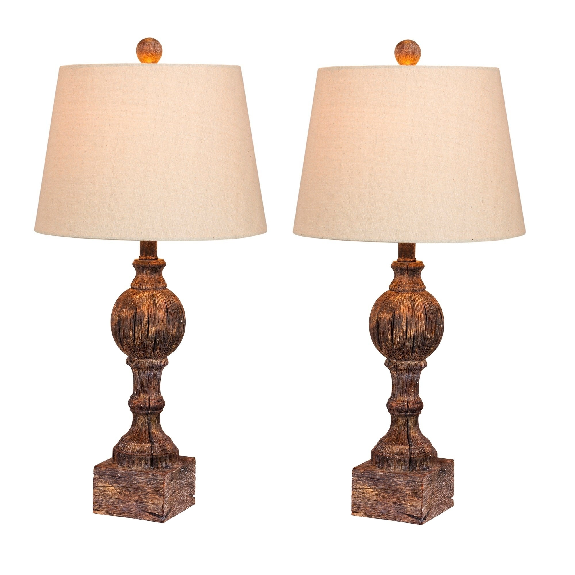 Fangio Lightings 6239CABR-2PK 26.5 in. Pair Of Distressed, Sculpted Column Resin Table Lamps in a Cottage Antique Brown Finish (60 to 100 Watts)