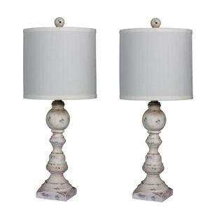 Fangio Lighting's 6241CAW-2PK Pair Of 26 in. Distressed Balustrade Resin Table Lamps in a Cottage Antique White Finish