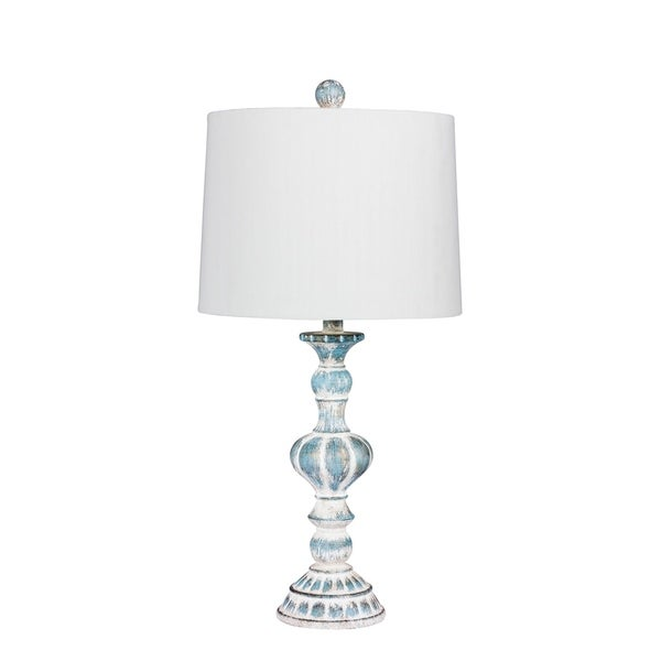 Fangio Lighting's 6238CABL 26.5 in. Distressed, Sculpted Candlestick Resin Table Lamp in a Cottage Antique Blue Finish