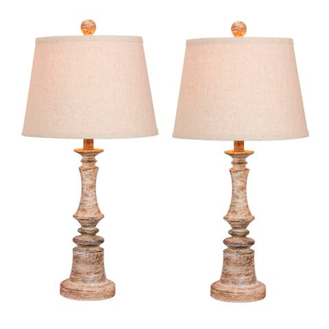 Fangio Lighting's 6240CABG-2PK Pair Of 26.5 in. Distressed Candlestick Resin Table Lamps in a Cottage Antique Beige Finish