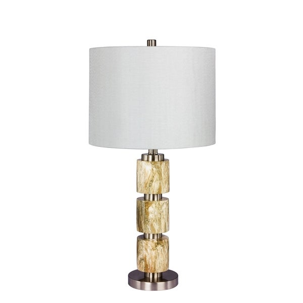 Fangio Lighting's 6237BRN 27 in. Stacked, Smooth Resin & Metal Table Lamp in a Brushed Steel With Brown Faux Marble Finish