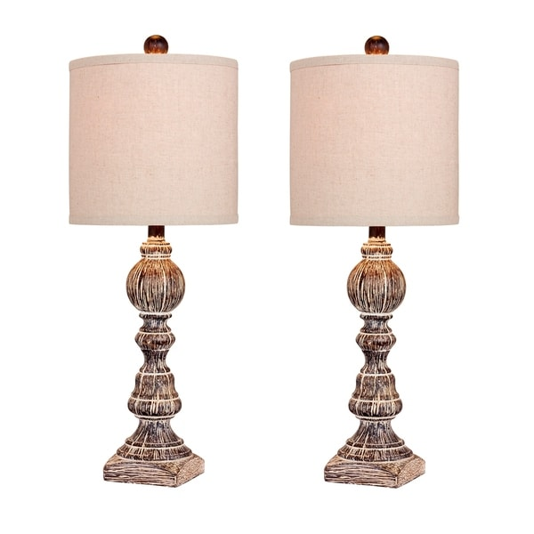 Fangio Lighting's 6241CABR-2pk Pair of 26 in. Distressed Balustrade Resin Table Lamps in a Cottage Antique Brown Finish
