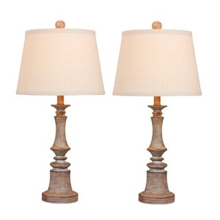 Fangio Lighting's 6240CWG-2PK Pair Of 26.5 in. Candlestick Resin Table Lamps in a Cottage Weathered Gray Finish