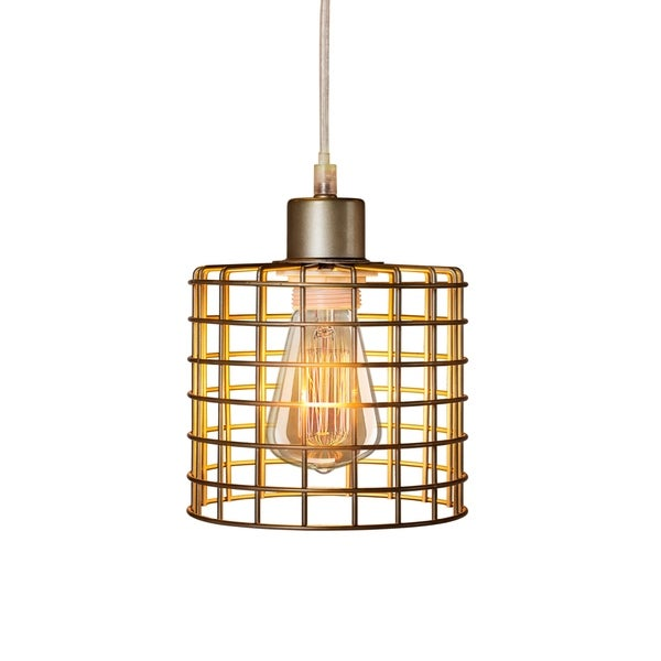 Fangio Lighting's 3860 5.5in. Basket Cage Metal Pendant in a Antique Silver Finish (with Canopy & Bulb In Box)