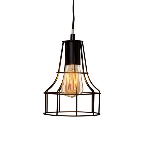 Fangio Lighting's 3863 8.01 in. Metal Cage Pendant in a Black Finish (with Canopy & Bulb In Box)