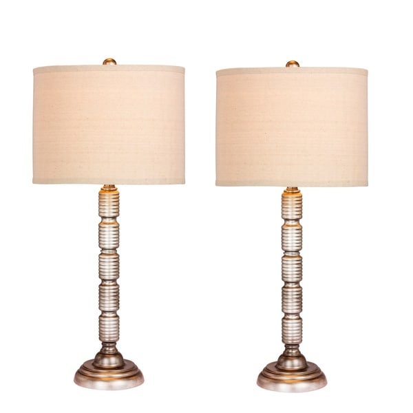 Fangio Lighting's 1562AS-2PK Pair Of 30.5 in. Industrial, Ribbed Metal Table Lamps in a Antique Silver Finish