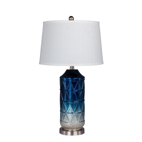 Fangio Lighting's 5147BLU 27.5 in. Metal Table Lamp in a White Mercury Glass with Frosted Mist Color Tint in Blue Finish