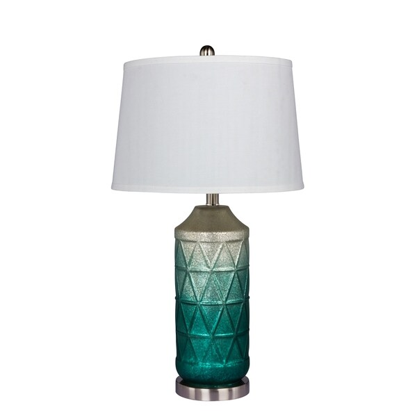 Fangio Lighting's 5147GRN 27.5 in. Metal Table Lamp in a White Mercury Glass with Frosted Mist Color Tint in Green Finish