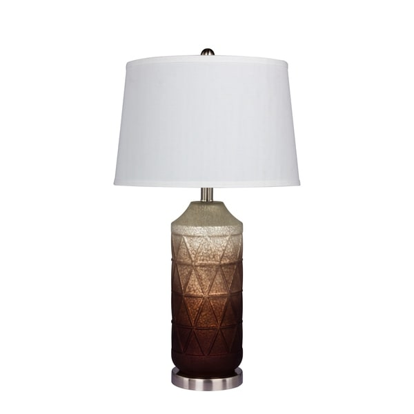 Fangio Lighting's #5147BRN 27.5 in. Table Lamp in a White Mercury Glass with Frosted Mist Color Tint in Brown Finish