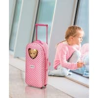 Badger Basket 3-in-1 Trolley Doll Carrier with Rocking Bed and Bedding - Pink Polka Dot