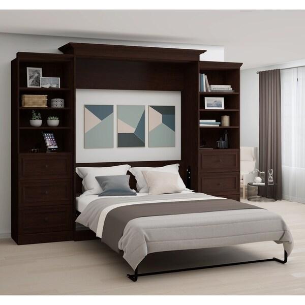 Shop Bestar Novello Veneer Queen Wall Bed With Two 3