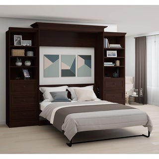 Bestar Novello Veneer Queen Wall bed with two 3-Drawer Storage Units