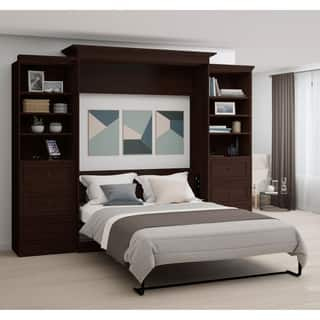 Bestar Novello Veneer Queen Wall bed with two 3-Drawer Storage Units|https://ak1.ostkcdn.com/images/products/18055448/P24219266.jpg?impolicy=medium