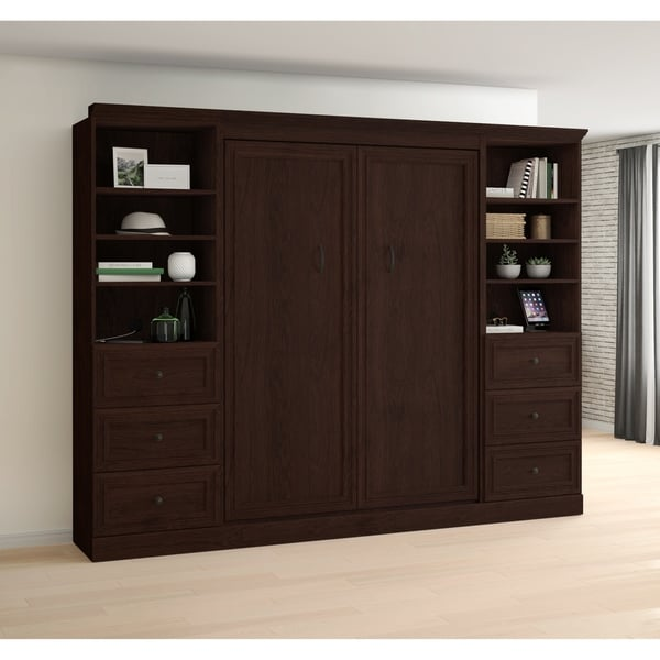 Shop Bestar Novello Veneer Full Wall Bed With Two 3 Drawer