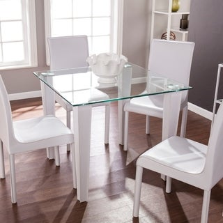 Silver Orchid Nielson Glass and White Faux Leather Dining Table