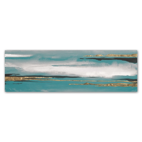 Chris Paschke 'Gilded Storm I Teal Grey Crop' Canvas Art