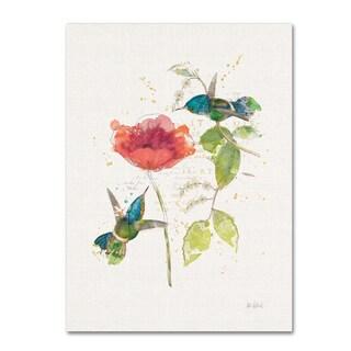 Katie Pertiet 'Teal Hummingbirds II Flower' Canvas Art