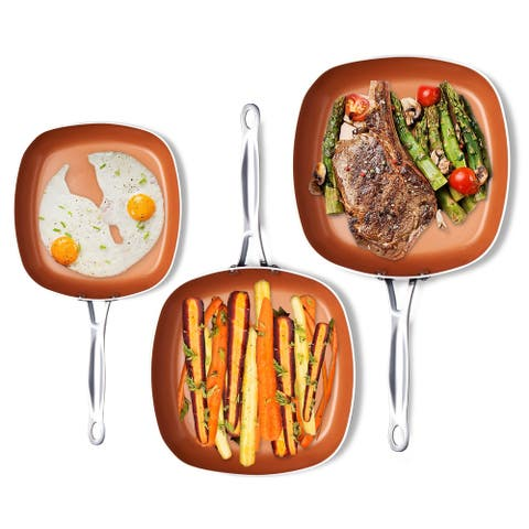 Gotham Steel 3 Piece Shallow Square Frying Pan Cookware Set - Copper