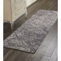 Nourison Linked Charcoal ContemporaryRunner Rug - 2'3 x 7'6