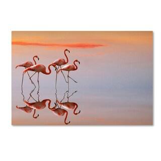 Anna Cseresnjes 'Flamingo Parade' Canvas Art