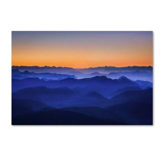 David Bouscarle 'Misty Mountains' Canvas Art