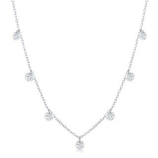 La Preciosa Sterling Silver or Rose Gold Dainty Dangling Cubic Zirconia 16+2'' Necklace