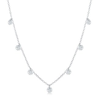 La Preciosa Sterling Silver or Rose Gold Dainty Dangling Cubic Zirconia 16+2'' Necklace