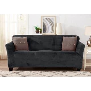 Great Bay Home Velvet Plush Form Fit Sofa Slipcover