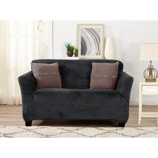 Great Bay Home Velvet Plush Form Fit Loveseat Slipcover