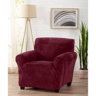 Great Bay Home Velvet Plush Form Fit Chair Slipcover