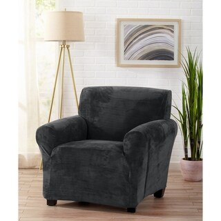 Great Bay Home Velvet Plush Form Fit Chair Slipcover