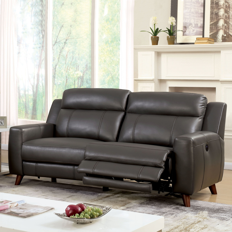 Furniture Of America Zass Modern Grey Faux Leather Reclining Sofa
