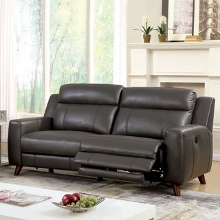 Furniture of America Zass Modern Grey Faux Leather Reclining Sofa